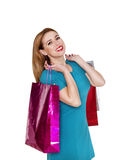 Young pretty woman makes shopping Stock Photography