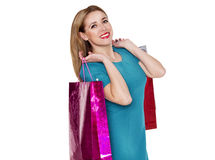 Young pretty woman makes shopping Stock Photos