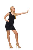 Young pretty woman in mini black dress isolated on Royalty Free Stock Photos