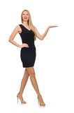 Young pretty woman in mini black dress isolated on Royalty Free Stock Photo
