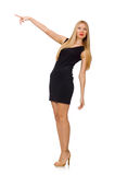 Young pretty woman in mini black dress isolated on Stock Image