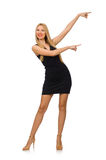 Young pretty woman in mini black dress isolated on Royalty Free Stock Images
