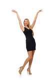Young pretty woman in mini black dress isolated on Stock Images