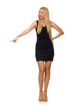 Young pretty woman in mini black dress isolated on Royalty Free Stock Photography