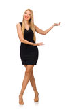 The young pretty woman in mini black dress Stock Image