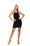The young pretty woman in mini black dress Stock Photo