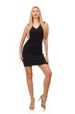 The young pretty woman in mini black dress Stock Image