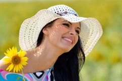 Young pretty woman outdoor in summer Royalty Free Stock Images