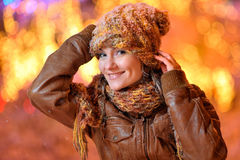 Young pretty woman outdoor in winter Stock Image