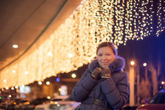 Young pretty woman outdoor in winter Stock Photography