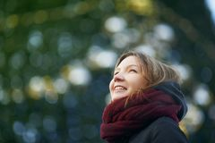 Young pretty woman outdoor in winter royalty free stock photography