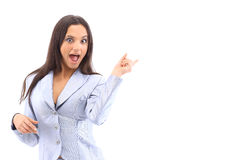 Young pretty woman pointing Royalty Free Stock Image