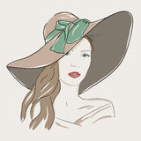 Young pretty woman portrait in hat. Romantic lady green eyes. Young pretty woman portrait. Drawn elegance girl in hat. Romantic lady with green eyes EPS10 Stock Photo