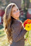 Young pretty woman portrait outdoor Stock Photos