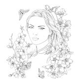 Young pretty woman portrait. Sakura flowers blossom. Romantic lady girl. Young pretty woman portrait. Drawn elegant girl in sakura flowers blossom. Romantic lady Royalty Free Stock Photography