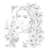 Young pretty woman portrait. Sakura flowers blossom. Romantic lady girl. Young pretty woman portrait. Drawn elegant girl in sakura flowers blossom. Romantic lady Stock Images