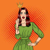 Young Pretty Woman Posing with Photo Booth Crown. Pop Art Royalty Free Stock Image