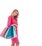 Young pretty woman posing with  shopping bags Stock Photography