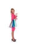 Young pretty woman posing with  shopping bags Stock Photos