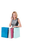 Young pretty woman posing with  shopping bags Royalty Free Stock Image