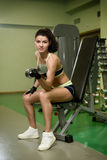 Young pretty woman pumping up muscles with dumbbells Stock Images