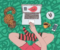 Young pretty woman with red cat is chatting online. Sitting cross-legged and using laptop at home vector illustration