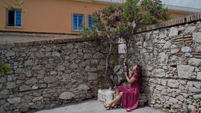 Young pretty woman in red dress sitting on stone flower bed under blossoming violet tree at sunny spring day in old. Ancient town 4k stock video footage