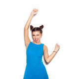 Young pretty woman saluting and winking Royalty Free Stock Photo