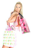 Young pretty woman with shop bags. Royalty Free Stock Photos