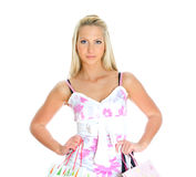 Young pretty woman with shop bags. Royalty Free Stock Images