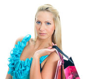 Young pretty woman with shop bags. Stock Image