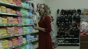 Young pretty woman, shopping, mall stock footage
