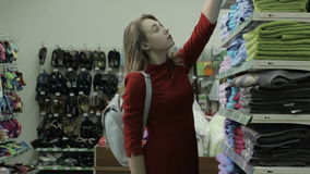 Young pretty woman, shopping, mall stock video