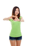 Young pretty woman showing heard shape. Stock Images