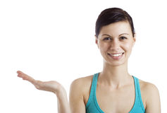 Woman holding a product Royalty Free Stock Photography
