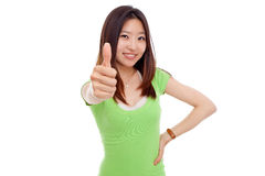 Young pretty woman showing thumb. Stock Images
