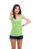 Young pretty woman showing thumb. Stock Image