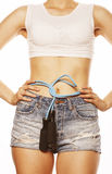 Young pretty woman with skipping rope isolated on Stock Image