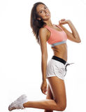 Young pretty woman in sports wear isolated on Stock Image