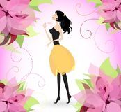 Wonderful fragrance. Vector illustration. Young pretty woman spraying floral scented perfume Stock Photo