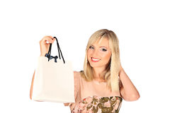 Young pretty woman standing with color-full shopping bags Royalty Free Stock Photo