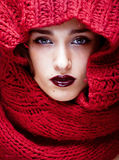 Young pretty woman in sweater and scarf all over her face Stock Image
