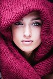 Young pretty woman in sweater and scarf all over Royalty Free Stock Photos