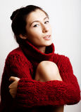 Young pretty woman in sweater and scarf all over her face, lifes Royalty Free Stock Images