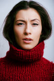 Young pretty woman in sweater and scarf all over her face, lifestyle people winter concept Stock Photography