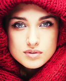 Young pretty woman in sweater and scarf all over her face, lifestyle winter people concept Royalty Free Stock Photo