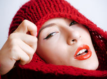 Young pretty woman in sweater and scarf all over her face, winter cold close up, lifestyle people concept Royalty Free Stock Photos