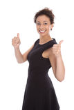 Young pretty woman with thumbs up on white background Royalty Free Stock Photography