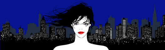 Young pretty woman on an urban background. Vector vector illustration