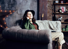 Free Young Pretty Woman Waiting Alone In Modern Loft Studio, Fashion Musician Concept, Lifestyle People Royalty Free Stock Photography - 87594107